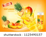 mulitivitamin juice with fresh... | Shutterstock .eps vector #1125490157