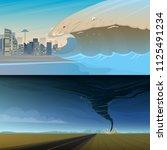 tsunami and twisting tornado or ... | Shutterstock .eps vector #1125491234