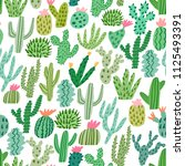 cactus seamless pattern.... | Shutterstock .eps vector #1125493391