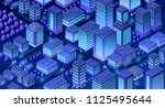 isometric city of violet colors ... | Shutterstock .eps vector #1125495644