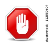 no entry hand sign on white... | Shutterstock .eps vector #112550609