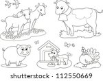 set of coloring farm animals... | Shutterstock .eps vector #112550669
