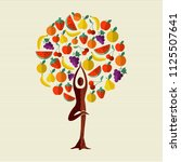 tree made of fruit with woman... | Shutterstock .eps vector #1125507641