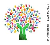 tree with colorful human hands... | Shutterstock .eps vector #1125507677