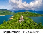 Small photo of Aerial view of Truc Lam Bach Ma monastery in Truoi lake, Bach Ma mountain, Hue, Vietnam.