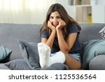frustrated disabled woman with... | Shutterstock . vector #1125536564