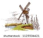 windmill landscape in vintage ... | Shutterstock .eps vector #1125536621