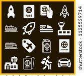 set of 16 travel filled icons... | Shutterstock .eps vector #1125539714