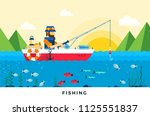 man in a red boat fishing in...   Shutterstock .eps vector #1125551837