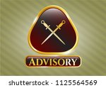 gold badge or emblem with... | Shutterstock .eps vector #1125564569
