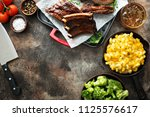summer dinner with grilled ribs ... | Shutterstock . vector #1125576617