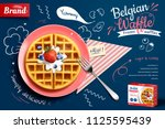 belgian waffle ads with... | Shutterstock .eps vector #1125595439