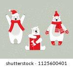 set of beautiful white polar... | Shutterstock .eps vector #1125600401