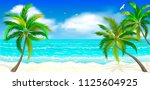 landscape of the tropical shore.... | Shutterstock .eps vector #1125604925