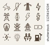 set of 16 electricity outline... | Shutterstock .eps vector #1125614234