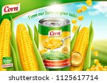 organic canned corn ads with... | Shutterstock .eps vector #1125617714