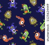 pattern doodle monster ... | Shutterstock .eps vector #1125624449