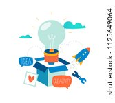 idea  thinking outside the box  ... | Shutterstock .eps vector #1125649064