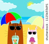 cat in sunglasses with cocktail ... | Shutterstock .eps vector #1125655691