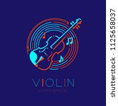 violin  bow  music note with... | Shutterstock .eps vector #1125658037