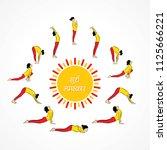 illustration of woman doing sun ... | Shutterstock .eps vector #1125666221