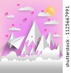 plane flying on sky with heart  ... | Shutterstock .eps vector #1125667991