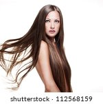 beautiful woman with long... | Shutterstock . vector #112568159