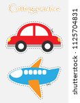car and plane in cartoon style  ... | Shutterstock .eps vector #1125704831