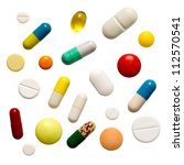 many colorful pills isolated on ... | Shutterstock . vector #112570541