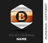 realistic golden letter b logo...