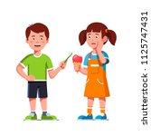 cheerful boy kid give... | Shutterstock .eps vector #1125747431