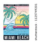 florida miami bech theme vector ... | Shutterstock .eps vector #1125749201