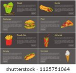 noodles and burrito posters set.... | Shutterstock .eps vector #1125751064