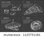 fast food set hand drawn vector ...   Shutterstock .eps vector #1125751181