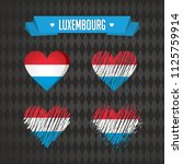 Luxembourg Collection of four vector hearts with flag. Heart silhouette
