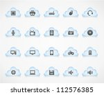 computer icons on light clouds. ... | Shutterstock .eps vector #112576385