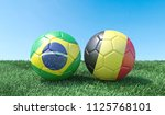 two soccer balls in flags... | Shutterstock . vector #1125768101