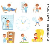 daily routine. kids making... | Shutterstock .eps vector #1125770471
