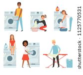 female characters in laundry.... | Shutterstock .eps vector #1125770531