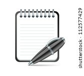 yellow pen and notepad icon. | Shutterstock . vector #112577429
