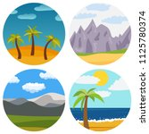 set of four natural cartoon... | Shutterstock .eps vector #1125780374