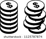two piles of dollar coins  ... | Shutterstock .eps vector #1125787874