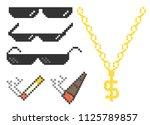 funny pixelated boss sunglasses.... | Shutterstock .eps vector #1125789857