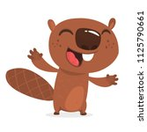excited cartoon beaver laughing....   Shutterstock .eps vector #1125790661