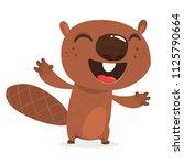 happy cartoon beaver laughing.... | Shutterstock .eps vector #1125790664