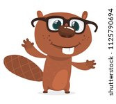 happy cartoon beaver wearing... | Shutterstock .eps vector #1125790694