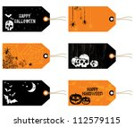 black and orange halloween tags ... | Shutterstock .eps vector #112579115