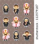 cartoon priest stickers | Shutterstock .eps vector #112579187