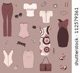 set of women clothes and... | Shutterstock .eps vector #112579361