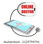 phone  pulse line  stethoscope. ...   Shutterstock .eps vector #1125794741